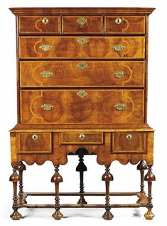 A WILLIAM & MARY WALNUT CHEST ON STAND - LATE 17TH CENTURY. repinned www.blamehelenabooks.com