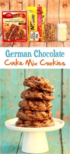 Easy German Chocolate Cake Mix Cookies Recipe Get Ready For Some Serious Coconut Pecan Heaven Easy German Chocolate Cake, Chocolate Cake Mix Recipes, Chocolate Cake Mix Cookies, Cake Mix Cookie Recipes, Chip Cookie Recipe, Easy Cheesecake Recipes, Brownie Cookies, Yummy Cookies, Betty Crocker German Chocolate Cake Recipe