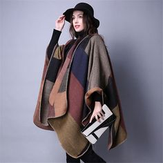 US Women Winter Cashmere Shawl Warm Poncho Vintage Blanket Lady Knit Scarf Cloak