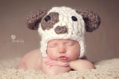 PUPPY HAT - Woof Woof! This is an adorable puppy hat great for your little one. It is great for a photo prop as well. There is the boy version or the girl version, both are equally as cute!Photography courtesy of:www.jenniferleaphotography.comandwww.jenniferkuhsephotography.comandwww.simplyblissphotography.com