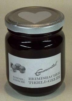 HEIMISBACHER TIERLI-GELÉE Kornelkirschen-Gelée aus dem Emmental Jar, Desserts, Food, Gelee, Products, Tailgate Desserts, Dessert, Jars, Postres
