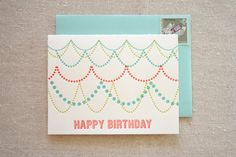 Birthday Garland Letterpress card by ParrottDesignStudio on Etsy, $4.50