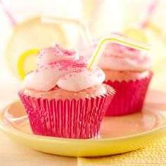 Pink Lemonade Cupcakes via Pillsbury. #laylagrayce #cupcakes #entertain