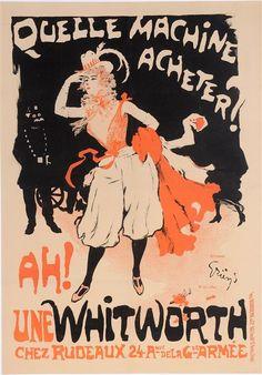 """Original Vintage French Poster """"Quelle Machine Acheter? Ah! Une Whitworth"""" by Grun. Circa 1897."""