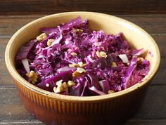 Red Cabbage Apple and Walnut Slaw