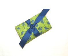 Jewelry Mini Roll In Green and Navy Floral Print by bagsbystacey on Etsy