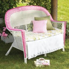 Wicker furniture is an excellent choice for decorating your balcony or garden; Ideas of painted wicker furniture for your inspiration. Wicker furniture can be made of natural or synthetic material, available in numerous designs to satisfy any taste. Painting Wicker Furniture, Furniture Making, Garden Furniture, Painted Furniture, Outdoor Furniture Sets, Outdoor Chairs, Balcony Furniture, Repurposed Furniture, Antique Furniture