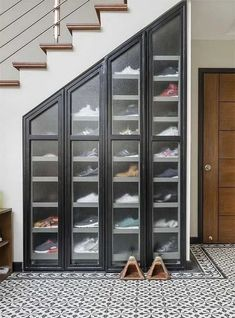 7 Amazing Shoe Storage Ideas From Real Homes is part of Storage furniture bedroom - Whether you're into sneaks or stilettos, there's a storage solution for every shoe collection Shoe Storage Furniture, Closet Shoe Storage, Wardrobe Storage, Stair Storage, Home Decor Furniture, Diy Home Decor, Diy Storage, Wall Storage, Diy Organization