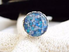 Designer BIG Sterling Silver 925 Mosaic Fire Opal Circle Ring Size 7 Chunky #NDA #Dome