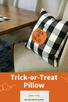 Dress up your home with a Halloween pillow! Easily create your own pillow cover or buy a blank from your favorite shop. We include the trick-or-treat pumpkin appliqué design and give you a tutorial on how to stitch it out. 🎃 🍬 🍭 // Free pumpkin appliqué design and tutorial available through the link.