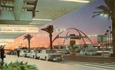 In front of the United terminal at Los Angeles International Airport in the 1960s.