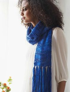 Lace Stripe Scarf (Free Knitting Pattern) - Craftfoxes DK on 5mm, Easy lace & knit  Approx 450yrd needed.