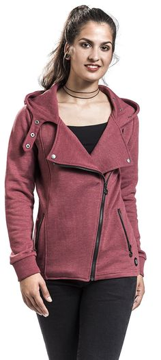 Let It Rock Hooded zip – Buy now at EMP – More Basics Streetwear available online - Unbeatable prices! Hoods, Hooded Jacket, Street Wear, Leather Jacket, Zip, Blouse, Jackets, Women, Fashion
