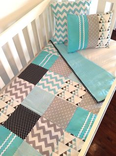 Love the fabrics.  Baby Boy Crib Quilt Set..one of a kind, ready to ship. $160.00, via Etsy.