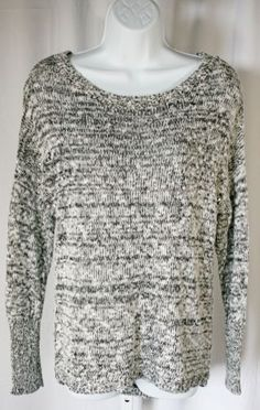0e8df1e10 Details about Rock   Republic Black White Sequins Knit Sweater Hi Low Long  Sleeve Boat Neck LG