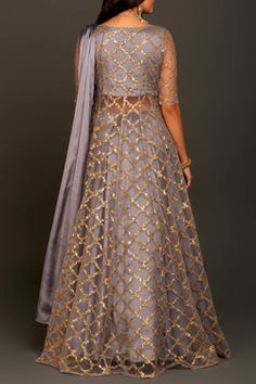 The beautiful golden tikli work net long jacket with full length lehanga part 1 Indian Party Wear Gowns, Indian Long Gowns, Party Wear Evening Gowns, Indian Gowns Dresses, Indian Fashion Dresses, Indian Designer Outfits, Pakistani Dresses, Indian Outfits, Eid Dresses