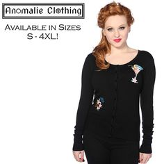Cocktail Cardigan in Black - This gorgeous cardigan from Banned Apparelfeatures:  vintage inspiredcocktail applique to the front, with cocktail umbrellas and flowers,scoop necklineshiny blackbuttons down the front,long sleeves;slim fitting with stretch;soft knit fabric (60% Rayon, 20% Polyamide, 20% Spandex).  Instantly dress up your favourite plain pants or skirt with thisquirky cardigan!