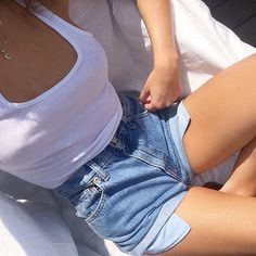 ribbed tank + rolled denim shorts #levis