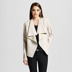 Women's Drape Front Faux Leather Jacket Mist - Mossimo™ : Target