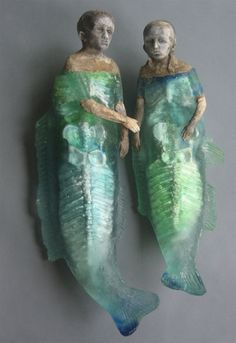 Christina Bothwell ,  Title and information not fully known (I hope later on) glass, heller gallery, Description: Two Green Mermaids or One Merman en One Mermaid.