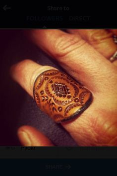 Leather Ring Tooled Concho Design 1 by OliRoseCollection on Etsy: change to tooled family crest. Leather Stamps, Leather Art, Sewing Leather, Leather Pattern, Leather Cuffs, Leather Design, Leather Tooling, Leather Jewelry, Estilo Hippy