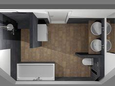 (De Eerste Kamer) Moderne badkamer met ronde en rechthoekige vormen. Deze moderne badkamer is bijzonder sfeervol door de warme houtlook van het wastafelonderblad en van de vloertegels. De ronde vormen van de opzetkommen, het toilet en de inbouwkranen dragen bij aan een prettige sfeer. Het bad en het badmeubel hebben een rechthoekige vormgeving. Ook bij de inloopdouche is voor een strakke, rechthoekige indeling gekozen. De doucheruimte is voorzien van een zitbankje. In de douchemuur is een…