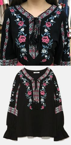 A Black Hippie Style Embroidery Top is available at $45 from Pasaboho. ❤️ These tops exhibit brilliant design with beautiful embroidered patterns. ❤️ Wholesale and retail all welcome. Fashion trend and styles from hippie chic, modern vintage, gypsy style, boho chic, hmong ethnic, street style, geometric and floral outfits. Trending boho style and embroidery stitches. Free Spirit hippie girls sharing woman outfit ideas. bohemian clothes, cute dresses and skirts.