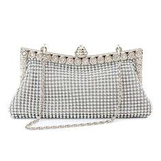 Homgaty Ladies Girls Silver Sparkly Diamante Crystal Satin Clutch Bag Evening Wedding Handbag Purse Bag: Amazon.co.uk: Shoes & Bags
