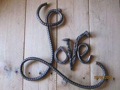 Rebar Love Sign wedding gift metal art rebar art by DanielsDecor