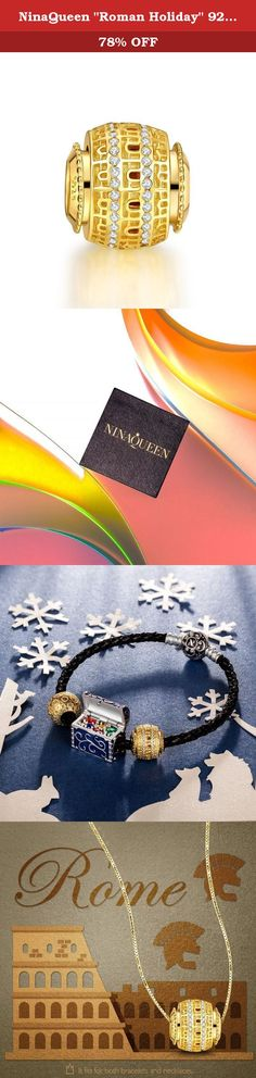 """NinaQueen """"Roman Holiday"""" 925 Sterling Silver Gold Plated Italian Style Charms, Women Fine Jewelry, a great gift for Mom,Wife,Girlfriend,daughter and friends on Birthday, Anniversary, Valentines day, Graduations, Thanksgiving Day and Christmas Day. NINAQUEEN Charms are meant to mark special moments in life. Charmed bracelets are a symbol of fashion, ideal as a gift to yourself or loved one. The NINAQUEEN Series of charms are suitable for every life event. Just look down at the wrist and…"""