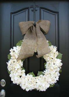 Wedding Wreaths, Wedding Hydrangeas, Florals for Weddings, Cream Hydrangeas, Hydrangea Wreaths, All Season Wreath, Green Hydrangeas, Summer Hydrangeas, Cream Ribbon Bows, Seasonal Hydrangeas, Front Door Wreaths Is this a gift? Dont forget the hook! http://www.etsy.com/shop/twoinspireyou?section_id=11480447 This beautiful hydrangea wreath is fitting for any decor style! I can always change up the ribbon to fit your color scheme as well. Finished arrangement will mea...