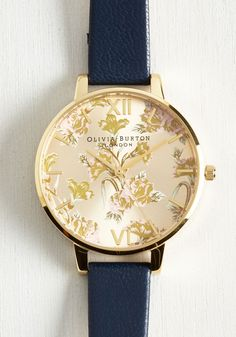 As Flowers Turn to Minutes Watch. Every appointment feels like perfect timing with this navy leather Parlour watch by Olivia Burton polishing your punctuality. #gold #modcloth