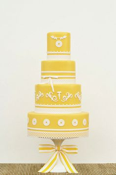 Asian Yellow Wedding Cake by Art and Appetite, via Flickr
