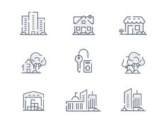 Real Estate & Property for Rent and Buy - Icon Set