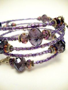 Items similar to Purple Crystal Memory Wire Bracelet, Amethyst Crystal Beaded Bracelet, Miyuki Seed Beads on Etsy