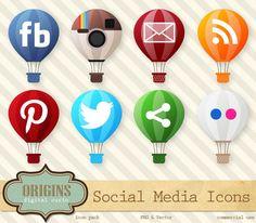 Hot Air Balloons Social Media Icons by Origins Digital Curio on @creativemarket