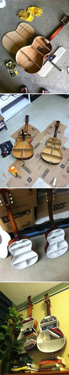 Old Guitar into a shelf    Check this out!  Nice details showing how to do it.