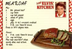 Twirl and Taste: Elvis loved Christmas at Graceland including his favorite meatloaf on the holiday menu - try this recipe fit for a King! Retro Recipes, Old Recipes, Vintage Recipes, Meat Recipes, Cooking Recipes, Amish Recipes, Dinner Recipes, Dutch Recipes, Side Dishes
