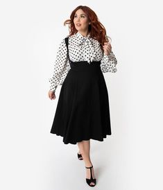 Plus Size Black High Waisted Amma Suspender Swing Skirt - Plus Size Black High Waisted Amma Suspender Swing Skirt Unique Vintage Plus Size White & Black Polka Dot Crepe Neck Tie Gwen B - Outfits Plus Size, Dress Plus Size, Plus Size Skirts, Curvy Outfits, Plus Size Vintage Dresses, Plus Size Vintage Clothing, Casual Outfits, Jupe Swing, Swing Skirt