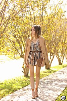 Autumn outfit with printed romper.