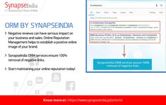 Online Reputation Management helps to establish a positive online image of your brand   SynapseIndia ORM(Online Reputation Management)service is well known for providing the best Online Reputation Management.   Start maintaining your online reputation t