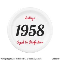 Vintage 1958 Aged To Perfection 60 Birthday Party Paper Plate