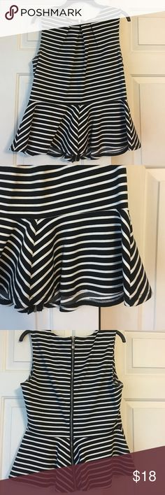 Black/White stripe zip-up peplum top Black/White stripe zip-up peplum top WD/NY Tops