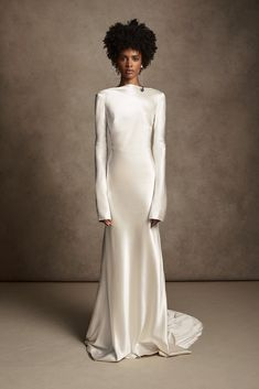 Bridal Dresses, Wedding Gowns, Minimalist Gown, Column Dress, Satin Gown, Bridal Fashion Week, Bridal Collection, Bridal Style, Designer Dresses