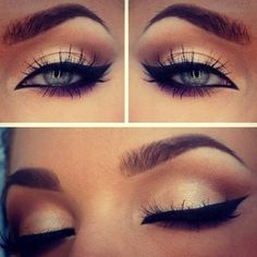 Perfect eye make up cream color snd black eyeliner Pretty Makeup, Love Makeup, Makeup Tips, Makeup Looks, Gorgeous Makeup, Makeup Ideas, Simple Makeup, Classy Makeup, Makeup Style