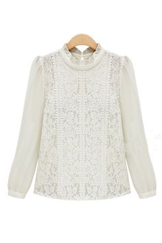 Goodnight Macaroon  'CHLOE' IVORY ROYAL CROCHET LACE CHIFFON BLOUSE  $75.00 USD