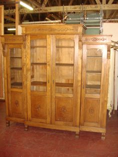 Large Hand Carved French Antique Bookcase Display Cabinet Curio