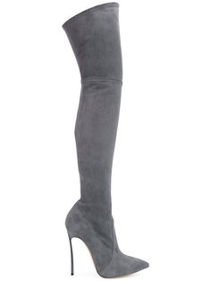 Shop Casadei knee-high pointed boots.