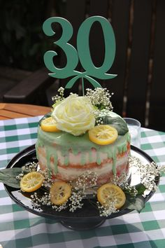 Zitronen Himbeer Joghurt Torte | Lemon raspberry yoghurt cake | Naked Cake