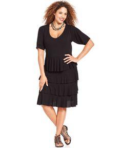 Style&co. Plus Size Short Sleeve Tiered Dress - Plus Size Dresses - Plus Sizes - Macy's